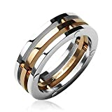 New 316L Stainless Steel 3 Connected Piece Ring IP Rose Gold Center; Comes With FREE Gift Box