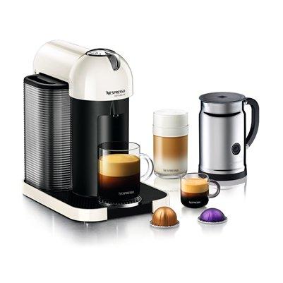 Nespresso A+GCA1-US-WH-NE VertuoLine White/Aero+ Bundle, White
