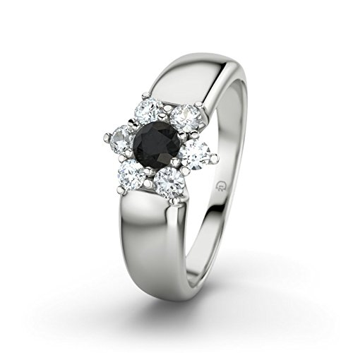 21DIAMONDS Women's Ring Kim Black Round Brilliant Cut Diamond Engagement Ring - Silver Engagement Ring
