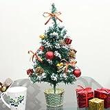 40cmクリスマスミニツリー(スノー/レッド)