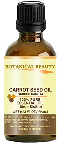 "CARROT SEED Essential Oil 100% Pure/ Undiluted/ Steam Distilled. 0.33 Fl.oz.- 10 ml. ""One of the best skin revitalizing essential oils"" by Botanical Beauty."