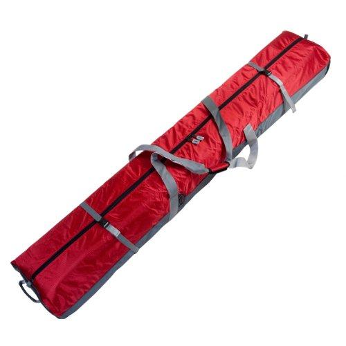 190 Fully Padded Double Ski Bag W Wheels Red Wheeled