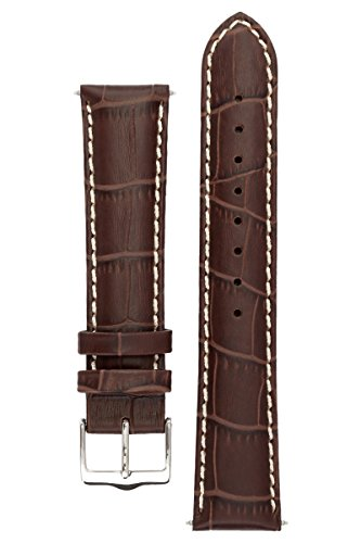 Signature Montana in coffee 20 mm extra-long watch band. Replacement watch strap. Genuine Leather. Silver buckle (Ladies Extra Long Watches compare prices)