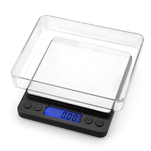 Digital Pocket Scale , Ascher Digital Pro Pocket Scale with Back-Lit LCD Display, Mode, Tare and PCS Features 500 x 0.01g (2 Lids Included) ,Mini Food Scales 500g, Mini Kitchen Scales