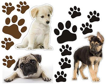 Puppy Dogs Paws Wall Stickers Set