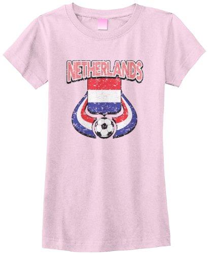 Threadrock Big Girls' Netherlands Soccer Fitted T-Shirt Xs Pink front-1040455
