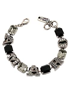 Israeli Amaro Jewelry Studio 'Primitive' Collection Bracelet with .925 Sterling Silver Plated 'AMARO' Letters Intertwined with Obsidian, Black Onyx, Black Chrysoberyl, Swarovski Crystals
