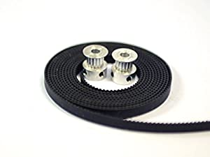 2 x Aluminum GT2 16T Pulley and 2M Belt for RepRap 3D printer Prusa i3 by 3D CAM
