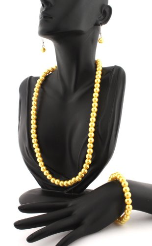 Ladies Metallic Yellow Pearl Style Matching Adjustable Necklace, Stretch Bracelet, & Drop Earrings Jewelry Set