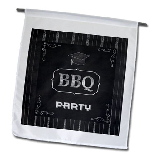 Fl_182755_1 Beverly Turner Graduation Design - BBQ Graduation Party, Grad Cap On Chalkboard Look - Flags - 12 X 18 Inch Garden Flag