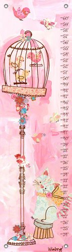 Oopsy Daisy Curious Kitty Winborg Sisters Growth Charts, Pink, 12 X 42""