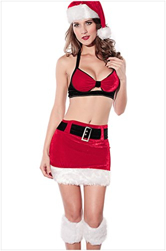 Camisole Hollow Sexy Santa Claus Christmas Costume Bikini Top Skirt Separated Dress