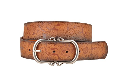 Tan Leather Belt with Floral Embossment and Silver Belt Buckle (M)