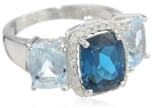 Sterling Silver London Blue Topaz, Aquamarine and Diamond 3-Stone Ring, Size 7