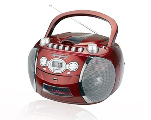 SuperSonic SC-712USBR Red CD Player Cassette Recorder Boombox w/USB