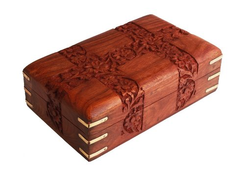 Fine Rosewood Jewelry Trinket Box Keepsake Organizer Handcrafted with Floral Carvings, 6 x 4 inches