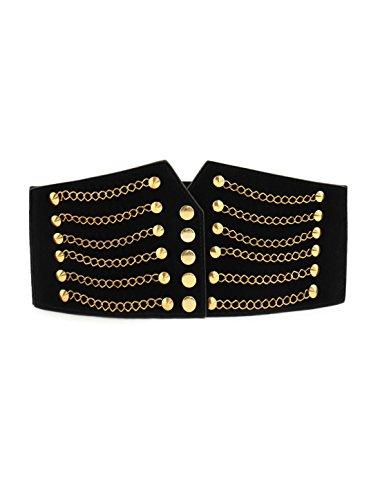 Donna Tonalità Oro Catena Front Elastico Alto Cintura Altezza Vita Stringere Nero - sintetico, Nero, 100% poliestere 70% poliestere 30% spandex; 100% pu, Donna, Misura unica
