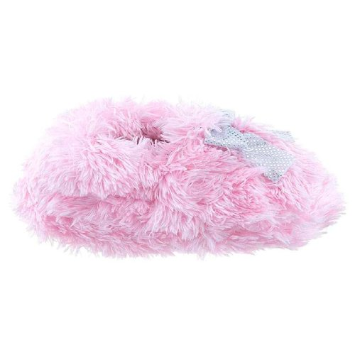 Capelli New York Teddy Faux Fur Moccasin With Bow Toddler Girls Indoor Slipper Satin Pink Large