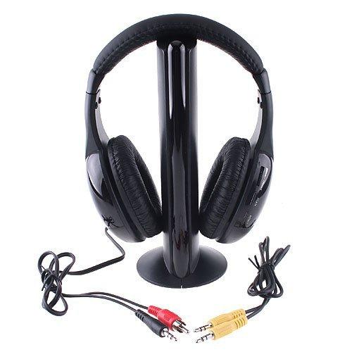 Huoshang 5 In 1 Wireless Rf Hi-Fi Headphones Headset Fm Radio For Pc/Notebook Tv Dvd Cd Mp3/Mp4