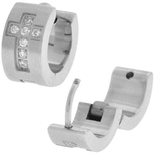 Inox Jewelry 316L Stainless Steel cz Cross Huggy Earrings