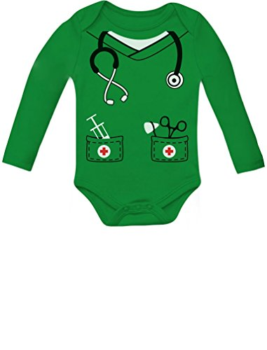 [Infant Doctor, Nurse Physician Costume Halloween Cute Baby Long Sleeve Onesie 12M Green] (Halloween Costumes Ideas For Newborns)
