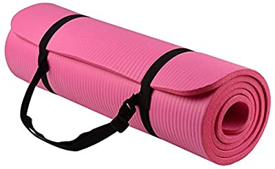 Just Model Yoga All-Purpose 1/2-Inch Extra Thick High Density Anti-Tear Exercise Yoga Mat with Carrying Strap Pink, 1/2-Inch