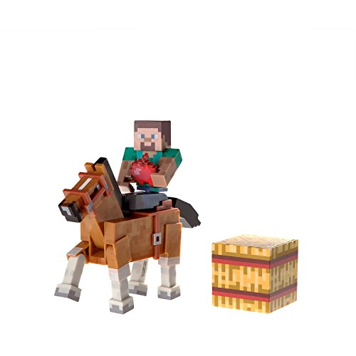 Minecraft Steve and Chestnut Horse Action Figures, with Hay Block And Apple (2 Pack)