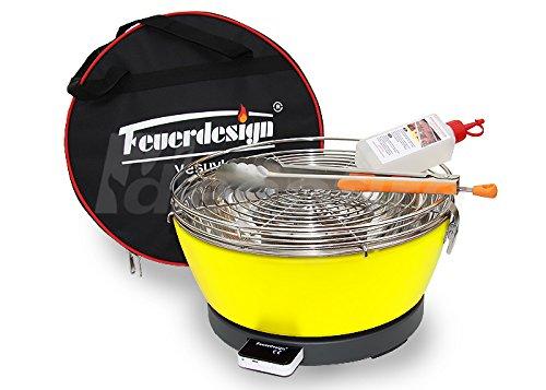 Rauchfreier Holzkohle Tischgrill VESUVIO v. Feuerdesign – Gelb, im Spar Pack mit Grill-Zubehör jetzt bestellen