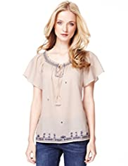 Indigo Collection Pure Cotton Embroidered Floral Gypsy Top