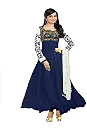 Clickedia Women Faux Georgette Dress material (EL30008-navy_Blue_Blue_Free Size)