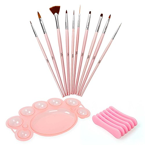 BMC 12 pc Nail Art Beauty Design Polish Brush Dotting Tool Palette Color Mixing Dish Holder Manicure Set (Manicure Brush Set compare prices)