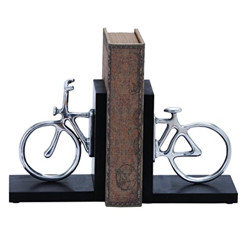 Deco 79 Aluminum Cycle Bookend Pair, 7 by 6-Inch