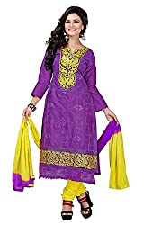 Vibes Womens Cotton Patch Work Straight Dress Material (V248-1008 _Purple _Free Size)