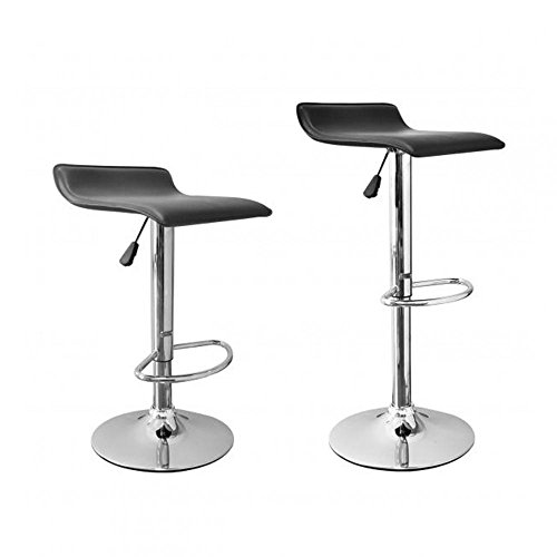 Allure Home Style - 2 Pcs Black New Modern Adjustable Synthetic Leather Swivel Bar Stools Chairs