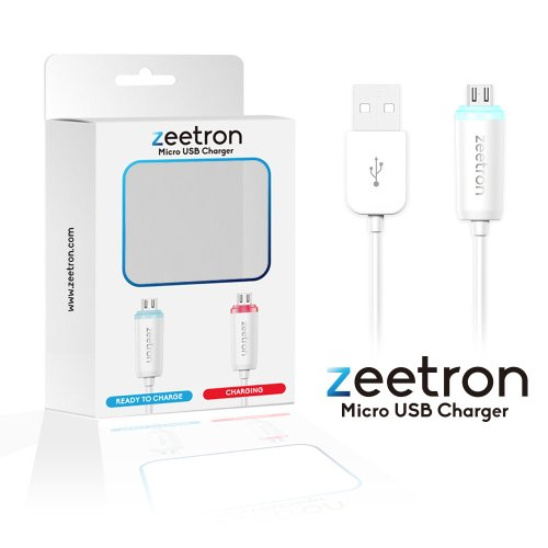 Zeetron Light Up Usb Cable For Samsung S2,S3,S4, Note, Galaxy, Kindle, Blackberry, Driod, Htc Mirco Data Sync & Charging - Retail Packaging (Micro To Usb)
