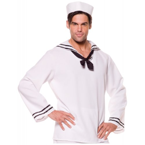 Sailor Shirt & Hat Costume - One Size - Chest Size 42-46
