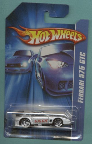 Mattel Hot Wheels 2006 1:64 Scale Silver Ferrari 575 GTC Die Cast Car #201 - 1