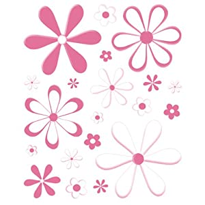 Instant Murals 20 Daisy Flowers Wall Transfer Stickers - Bright Pink
