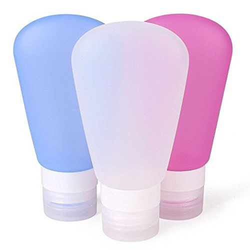 Silicone Travel Containers Showpin Mini 89ml Bottles Carry-on TSA Approved Leak Proof Refillable Reusable Lotion Tube Compatible for Shampoo/ Shower/Liquid detergent (Pink + White + Blue) (Ketchup Bag Dispenser compare prices)