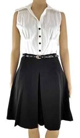 50s inspired black & white full skirt office / day dress with gauze petticoat (18)