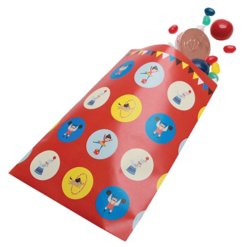 Party Partners Design Retro Big Top Circus Themed Favor Bags, Blue/Red, 12 Count