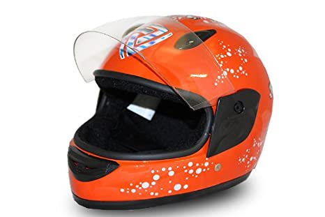 Full Face Helmet Casque Integrale Moto pour Enfant Orange - L