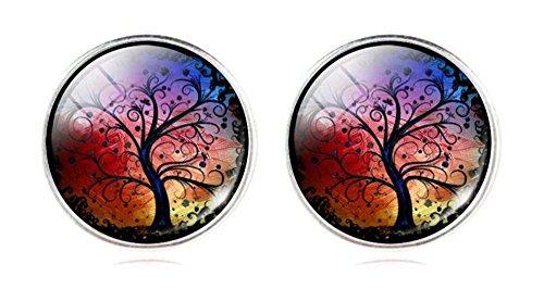 Art Albero Designer orecchini per orecchie forate con farfallina, lega di zinco, colore: Arcobaleno, cod. na