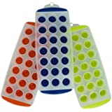 11'' Easy push Pop Out round mini Ice Cube Trays with flexible silicone bottom - Set of 3