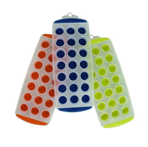 11'' Easy Push Pop Out Round Mini Ice Cube Trays With Flexible Silicone Bottom - Set Of 3 front-416959