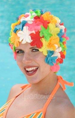 Original Flower Swim Cap- Old Fashioned Retro Petal Cap - Multi Color