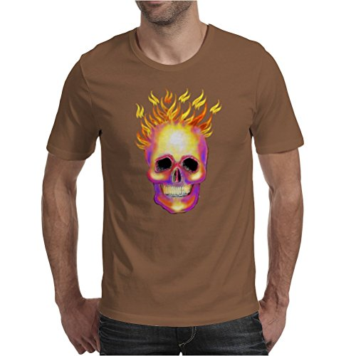 Flame Skull Mens T-Shirt Chocolate / Medium