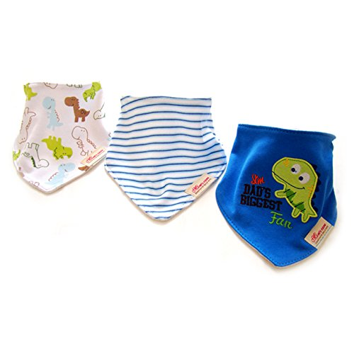 Fun Bandana Bibs with Snaps for Babies and Toddlers (Pack of 3) - Cute Set of Drool Bibs Absorb - Protect from Dribble Rash