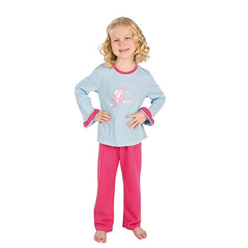 Kinder Schlafanzug Pyjama Mädchen lang himmelblau rosa 40429 (122)