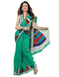 Prafful Silk Bhagalpuri Printed Saree With Unstitched Blouse - B00KNUE25Q